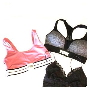 PINK Sports Bras (2) & a Vanity Fair Bralette Sz S
